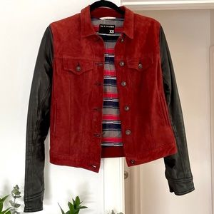 Rag & Bone Suede Leather Casual Moto Jacket Red